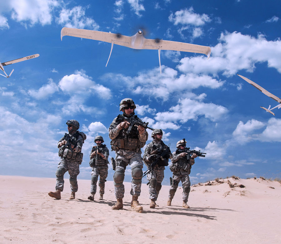 soldiers with UAS